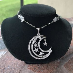 Silverskylight Jewelry - White gold plated cz moon stars herkimer diamonds